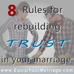 Rebuliding trust in your marriage is difficult but it can be done.